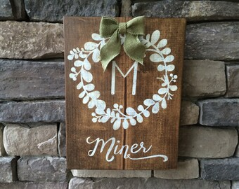 Personalized Family Name Sign Monogram initial Rustic Sign Laurel Wreath Wooden Sign