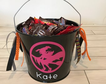 Halloween Bucket- Metal Bucket- Halloween bag- Trick or Treat Bucket- Personalized Halloween Bucket- Personalized Bucket- Witch Bucket