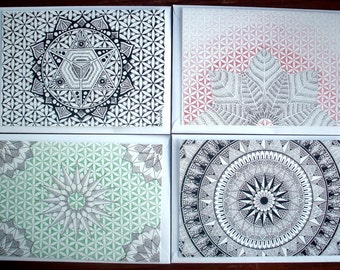 Sacred Geometry & Mandala A5 Greeting Cards, Pack Of 4