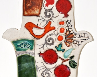 Hamsa Hand With Pomegranate For Energy Luck & Success ( Very Large Size )