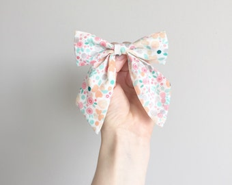 The Charlotte Sailor Bow - Baby/Toddler Hair Bow - Organic Cotton - Floral