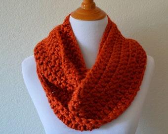 Pumpkin Orange Crochet Infinity Scarf, Portsmouth Pumpkin, Fall Scarf, Autumn Scarf, Crocheted Cowl Scarf, Orange Knit Scarf, Pumpkin Orange