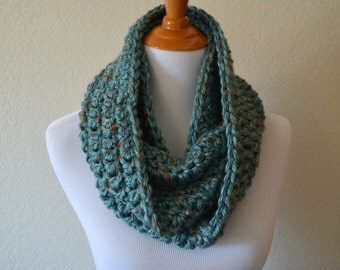 Aqua Blue Crochet Infinity Scarf, Key Largo Tweed, Made to Order, Handmade Scarf, Crochet Cowl, Knit Loop Scarf, Circle Scarf, Multicolor