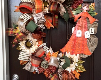 fall angel wreath, fall front door wreath, harvest wreath, autum front door wreath, autum angle door wreath