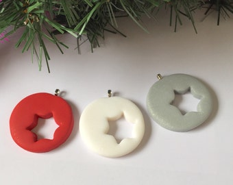 Holiday decor. Set of 3. Christmas tree ornament. Star ornaments.  Tree decoration. Polymer clay christmas tree decoration. Secret santa
