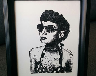 Hand Pulled Block Print Audrey Hepburn with Sunglasses