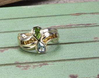 Estate 10K Estate Gold Multi Stone Ring, Peridot, Citrine, and Aqua