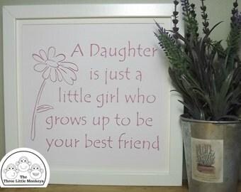 Original Papercut 'Daughter' quote typographical framed Hand-cut artwork - Daisy/Gerbera design - Cut by hand