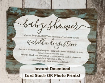 Printable Rustic Baby Shower Invitation - Boy, Girl, Neutral Wood Background - Digital File Instant Download - Photo Prints or Card Stock
