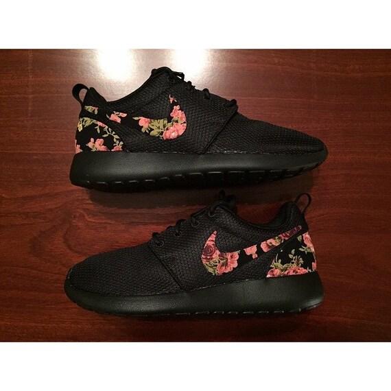 ufmys TRIPLE BLACK Floral Nike Roshe Run Custom Black by rixcustoms