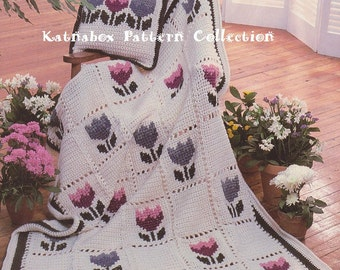Vintage 1980s Crochet Tulip Patch Afghan and Pillow, Crochet PDF Pattern
