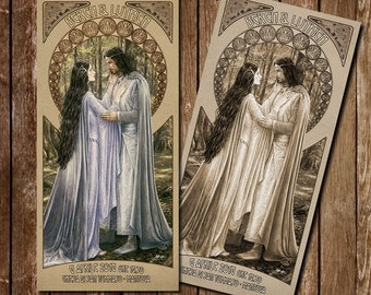 Participation in wedding style Lord of the rings Aragorn and Arwen (or Beren and Luthien) Art nouveau-Lord of the rings wedding Invitation