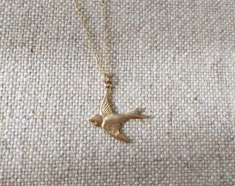 FREE SHIPPING Gold Bird Necklace