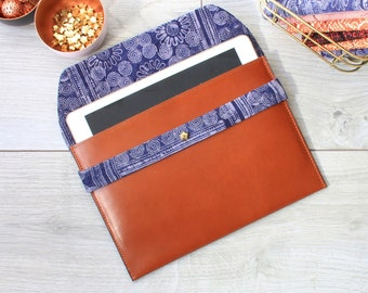 Leather iPad Air sleeve fabric batik Indigo Hmong of Viet Nam, Brown Fawn smooth vegetable leather
