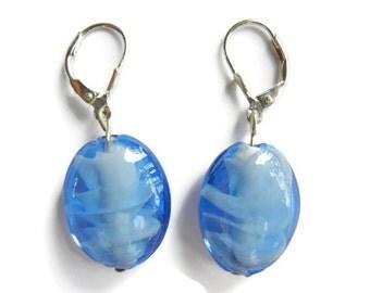 Blue glass earrings, silver earrings, glass earrings, blue earrings, oval earrings, modern earrings, silver earwires, silver jewelry, blue