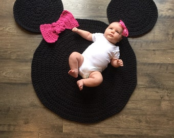 Chunky Minnie Mouse Inspired Nursery Rug Handmade Crocheted Made in the USA
