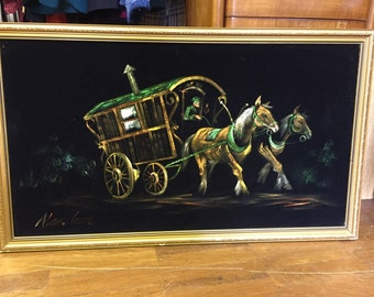 Gypsy folk art picture on black velvet by Alan Lane