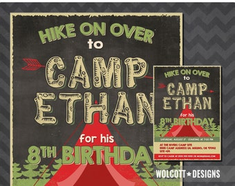 Camping Party Invitation, Camp out Party Invitation, Camping Invitation, Boys Camping Party, Camp Out Party, Printable Campout Invite