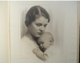 Cabin Fever Sale Antique Portrait-Black and White 1930's Portrait Woman and Child-Professional Photographer Truman De Marler-Tutt Estate