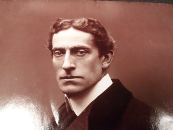 Chicago Theater History-Antique Photograph-English Actor Sir Johnstone Forbes, Signed on back to Chicago Blackstone Theatre
