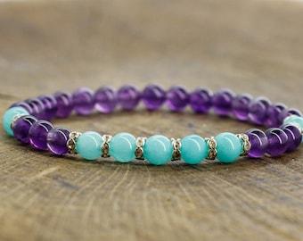 Purple bracelet Turquoise bracelet Amethyst bracelet Gemstone jewelry Healing stone jewelry Women birthday gifts for sister bracelet for mom