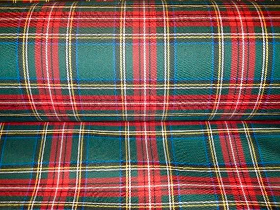 Green Stewart Plaid Tartan FabricSale By Yard Red Green Plaid