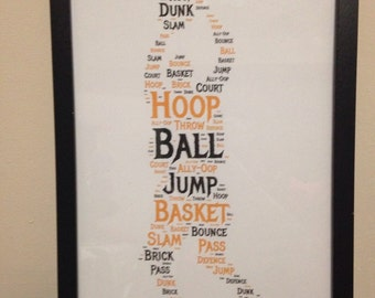 Basketball Word Collage Print, Fathers Day Gift, Birthday Gift For Him, Sports Fan Gift, Baaketball Lover Present, Handmade Gift For Him,