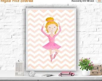 SALE Ballet Printable Art Print Ballerina Print Watercolor Nursery Decor Pink Ballet Poster Baby Girls Dance Print