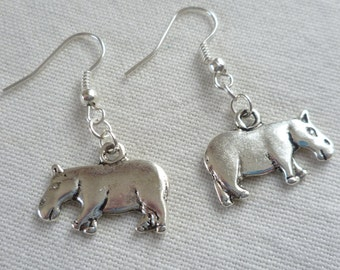Hippo earrings,hippo jewellery,silver hippo earrings,small hippo,dropper earrings,animal jewelry,simple jewelry,dangle earrings,minamalist