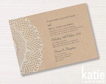 wedding invitation -  brownpaper - lacepattern - printable invitation - 5x7 - horizontal