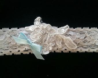 Ivory Aloncon beaded lace garter belt