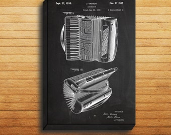 CANVAS - Accordian Patent, Accordian Poster, Accordian Print, Accordian Art, Accordian Decor, Accordian Blueprint, Accordian Instrument