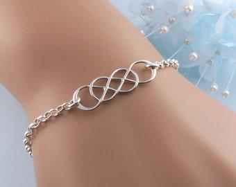 Silver Double Infinity Bracelet, Sisters Bracelet, Best Friends Gift, Bridesmaid Bracelet, Infinity Jewelry, Infinite Love, Twinfinity