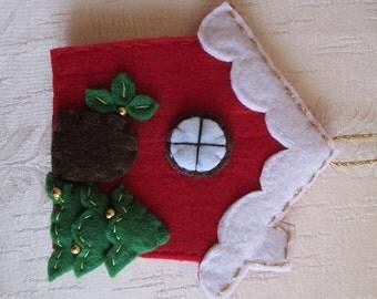 Felt Christmas Ornament -  Felt House Ornament -  Christmas Ornament-  Handmade ornament