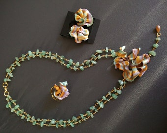 "Flower necklace jade necklace lariat jade flowers collection ""Spring"""