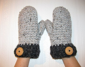 Wool mittens/Wood butons/The Lucy mittens