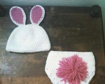 Bunny Diaper Cover and Infant Hat
