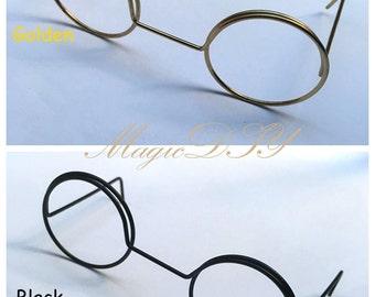 Black / Golden Glasses Metal Spectacle Frames for Blythe(no lenses)