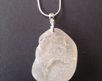English bonfire sea glass necklace. Sea glass found on the beach by me and drilled to create a lovely pendant. Sterling silver chain
