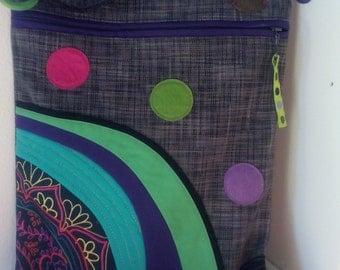 Art patchwork over the shoulder bag