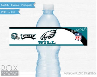 Philadelphia Eagles Party Water Labels, Printable Labels, Digital – Customized