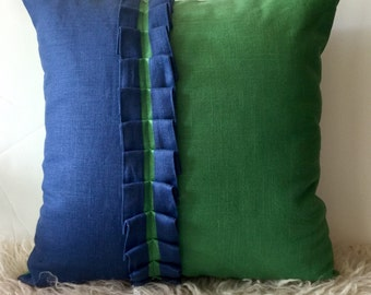 Color block, blue and green, linen pillow