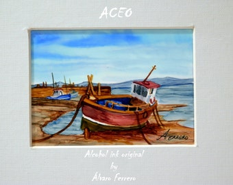 ACEO ALCOHOL INK. Aceo original with alcohol ink. Painting with alcohol inks blue landscape. Marine, boat.