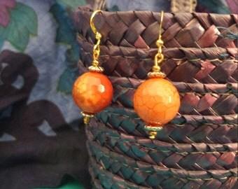 Fire Orange Natural Stone Earrings