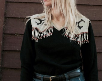 Black Knit Sweater with Suede Fringe sz SML/MED