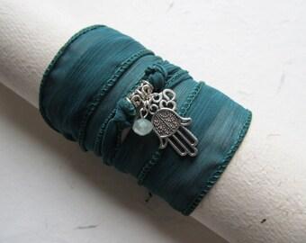 Wrap bracelet, silk bracelet, hamsa bracelet, yoga jewelry