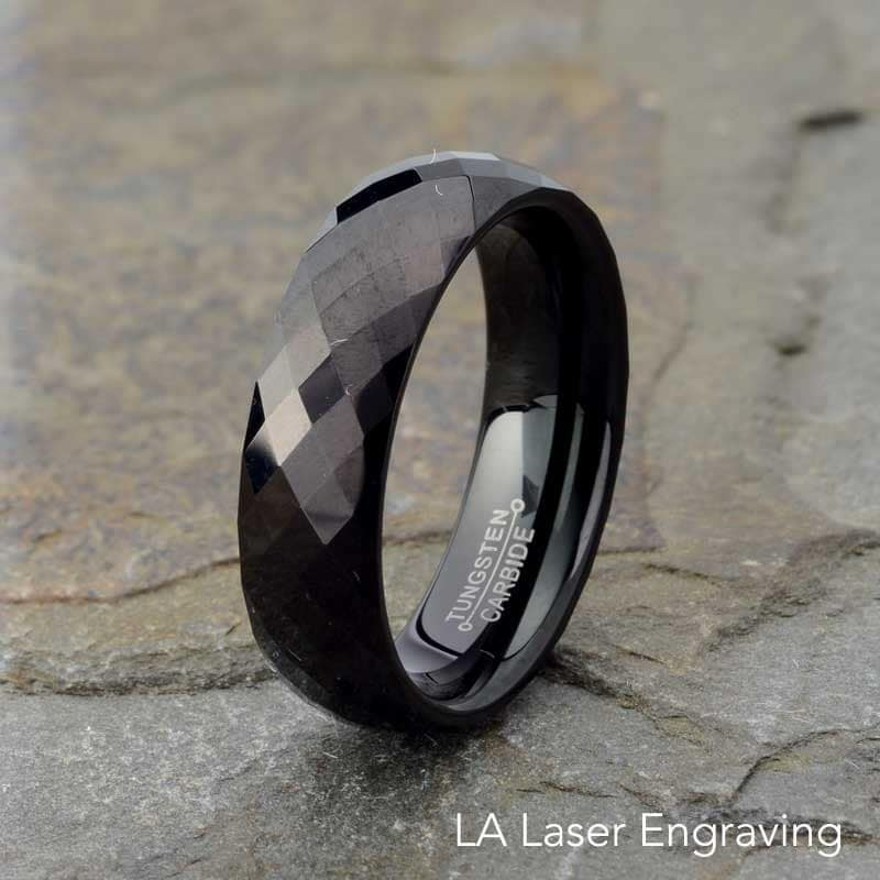 Black Tungsten Ring Mens Wedding Band Faceted Mens Wedding