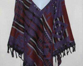 Poncho Hoodie Tassels Fringe Boho Bohemian 60s Designer Hippie HandmadeHimalayan Handloomed Yak Wool Blend Shawl Multicolored 1 Size 8665