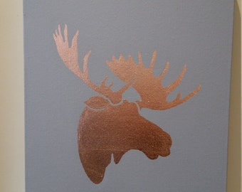 Hand Gilded Copper, Silver or Gold Metal Leaf Moose Head Artwork on Canvas Made to Order