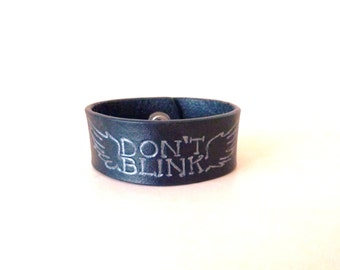 Dr Who, Don't Blink Leather Cuff ( width 30 mm) with silver snap closure